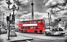 "LONDON Black And White With Red Bus Large Wall Art Canvas Picture 20"" x 30"""