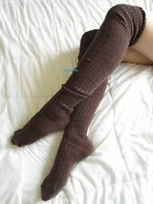 Brown Cable Knit Over The Knee High OTK Socks Thigh Hi Vintage Long School Girl