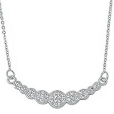 "WHITE CZ FASHION .925 Sterling Silver Pendant Necklace 16""+1""EXT"