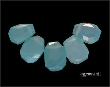 125CT Sea Blue Chalcedony Faceted Nugget Beads A #59052