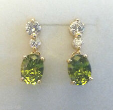 G17. Plum UK gold filled stud & dangle drop earrings, peridot & diamantes BOXED