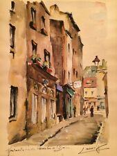 Vintage 50's Cityscape Paris Watercolor Painting by European Artist Laeroiz...#1