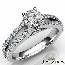 1.15ct Prong Round Diamond Split Shank Engagement Ring GIA E VVS1 14k White Gold