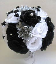 17 piece Wedding Bouquet Silk Flower Bridal WHITE BLACK SILVER Bouquets Package