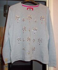 NEW Grey SweatTop with Stones and Zips Size 18