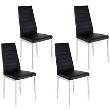 Set of 4 PU Leather Dining Side Chairs Elegant Design Home Furniture Black New