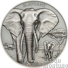ELEPHANT High Relief Animals Series 1oz Silver Antique Finish Coin 2016 Tanzania