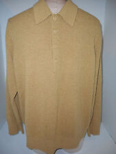 Mond Di Marco Mens 1/3 Button Front Sweater Pullover Sz 48 Large Rust Tan Wool