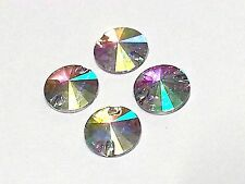 50pcs AB CLEAR Round Pointed 12mm RESIN Sew On DIAMANTE Rhinestone Crystal Gems