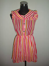 korean orange pink stripe long back short sheer dress