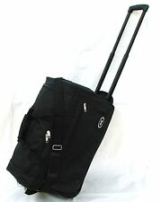 "21"" 40LB CAP. BLACK ROLLING WHEELED DUFFLE BAG CARRY ON LUGGAGE/SUITCASE"