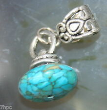 Blue Turquoise Dangling Rounded Crystal Charm Bead Reiki Blessed in Lavender Bag