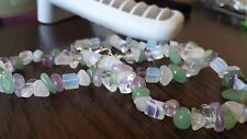 Handmade Natural Mixed Multi-Color Semi-Precious Gemstone Chips Necklace Jewelry