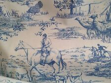 Hunt Hunting Scene Designer Curtain & Light Upholstery Fabric Material Wedgewood