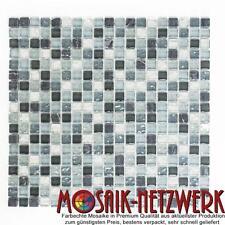 Mosaik Naturstein Glas Quadrat Crystal mix klar/grau/silber Art: 92-0208_f | 1qm