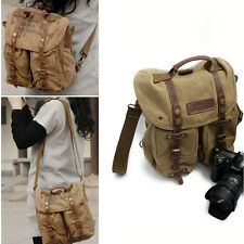 Waterproof Canvas DSLR SLR Camera Backpack Shoulder Bag Handbag Vintage 3 In 1