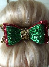 Christmas Handmade Gold, Green, Red Glitter Sparkly Hair Bow Clip Party
