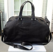 COLE HAAN WEEKENDER DUFFLE CARRY ON LARGE PEBBLED LEATHER BLACK BAG