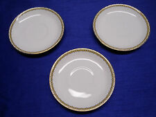 VINTAGE CLEVELAND CHINA 3 SAUCERS 720 WARRANTED 18 CARAT GOLD GHB CO