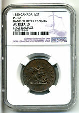 Canada-Bank of Upper Canada 1/2 Penny 1850,NGC AU Details