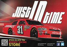 "2012 JUSTIN ALLGAIER "" BRANDT JUST IN TIME SCHEDULE"" #31 NASCAR NWIDE POSTCARD"