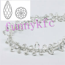 100pcs 6x12mm Clear Teardrop Glass Faceted Loose Crystal Pendant Beads