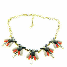 J Crew Rhinestone Floral Necklace Choker Gold Tone