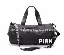 NEW Victorias Secret PINK Graphic Weekender Duffle Gym Bag Tote Black Logo Strap