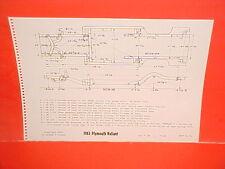 1963 PLYMOUTH VALIANT V-100 V-200 SIGNET CONVERTIBLE SEDAN FRAME DIMENSION CHART