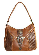 Montana West Ladies Western Tote Purse Basket Weave Silver Buckle Brown