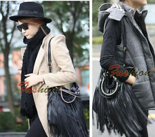 Fashion Womens Punk Double Fringe Tassel Shoulder Messenger Bag Leather Handbag