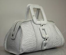 CALVIN KLEIN WHITE PYTHON SUMMER HAND BAG GORGEOUS LEATHER WRAPPED HANDLE 5x9x15