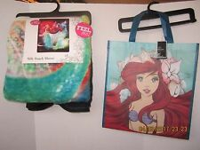 "Ariel The Little Mermaid Princess Disney Silk Throw Blanket 46"" X 60"" & Tote Bag"