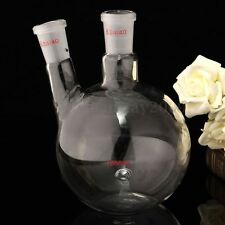 24/40,1000ml 2-Neck,Flat Bottom Glass Flask,Laboratory Boiling Bottle NEW