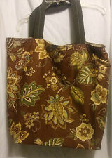 new brown flower fall tote bag reversible & matching key fob