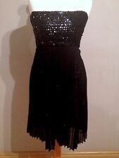 ✨ELISE RYAN Black Sequin Chiffon Marilyn Monroe Dress Sunray Pleats UK 8 EU 36✨