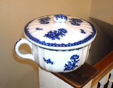 ANTIQUE FLOW BLUE CHAMBER POT WITH COVER LID ENGLAND