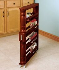 Natural Rolling Slim Can & Spice Rack Holder Kitchen Storage & Organization