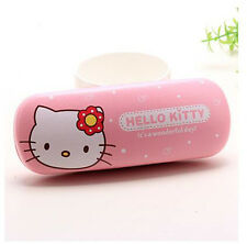 New Cute For Hello Kitty Head Glasses Eyeglass Case Holder Box Kids Gift Pink