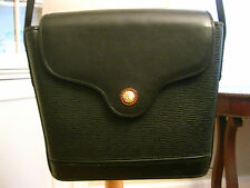 PHILIPPE CHARRIOL Paris black vintage leather shoulder bag gold toned logo