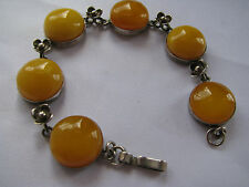 STERLING SILVER Baltic Amber EGG YOLK YELLOW Butterscotch CABS & LINK BRACELET