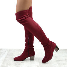 NEW WOMENS OVER THE KNEE BLOCK LOW HEEL LADIES STRETCH LEG THIGH HIGH BOOTS