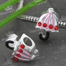 Pink Enamel Crystal Umbrella Silver Plated Charm Beads For European Bracelet