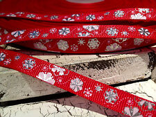 """3/8"""" METALLIC SILVER FOIL SNOWFLAKES ON RED  GROSGRAIN RIBBON SOLD BY THE YARD"""
