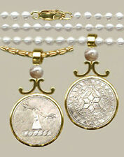 14k VF HAND/STAR Round Crest Pendant ANTIQUE CHINESE MOTHER O'PEARL GAME COUNTER