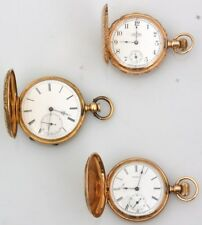 3 Gold Hunter Case Pocketwatches Lot 371