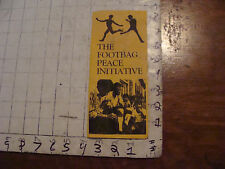 VINTAGE hacky sack paper: THE FOOTBAG PEACE INITIATIVE, soiled brochure, RARE