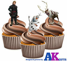 Disney Frozen Kristoff Olaf Birthday Party 12 Cup Cake Toppers Edible Decoration