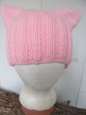Baby Pink PussyHat Pussy Cat Hat Hand-Knitted Womens March - PETITE / CHILD SZ