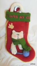 """""""I Love My Cat"""" Knit Christmas Stocking with Applique and Embroidery 14"""""""